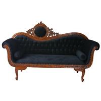 Canapé rococo en acajou massif et velours noir Marly