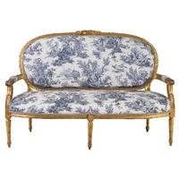 Canapé style Louis XVI en bois doré et toile de Jouy Chenonceau