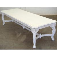 Table repas baroque en acajou massif blanc 300x110 cm