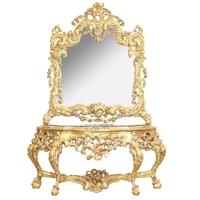 Console baroque rococo en hêtre doré Chambord