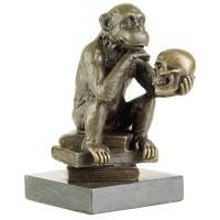 Figurine en bronze singe avec un crâne 14 cm