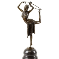 Statue en bronze style Art Déco danseuse au cerceau reproduction Chiparus 51 cm
