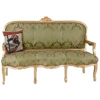 Canapé style Louis XV en bois doré et tissu vert Pompadour