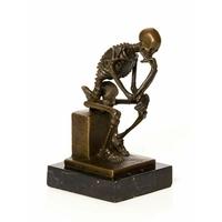 Statue en bronze penseur squelette 15 cm