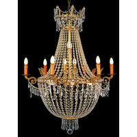 Lustre montgolfière en cristal style Empire 16 feux Villandry