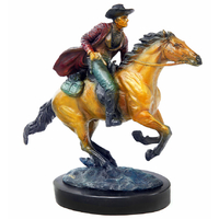 Statue en bronze cow boy sur un cheval 40 cm