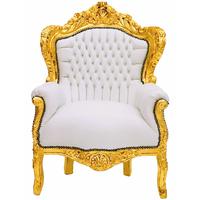 Fauteuil rococo en bois doré et simili-cuir blanc Stockholm