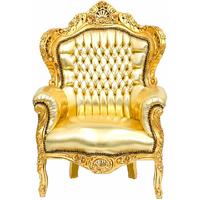 Fauteuil rococo en bois et simili-cuir doré Stockholm