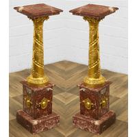 Paire de colonnes en mabre rouge et bronze Iéna