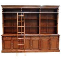 Bibliothèque style Empire avec échelle courante en acajou Saumur