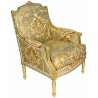 Fauteuil style Louis XVI en bois doré et tissu vert Chambord