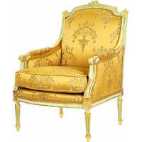 Bergère style Louis XVI en bois doré et tissu jaune Chambord