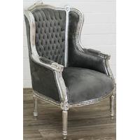 Bergère style Louis XVI en hêtre argenté et velours gris Turgot