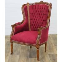 Bergère style Louis XVI en hêtre et velours rouge Turgot