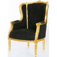 Bergère style Louis XVI en hêtre doré et velours noir Turgot