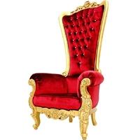 Trône de père noël 202 cm en acajou doré et velours rouge Vendôme