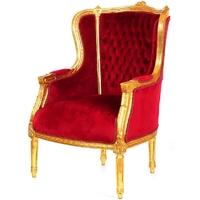 Fauteuil de père noël en bois doré et velours rouge Turgot