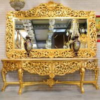 Console royale avec miroir style rococo en hêtre doré Balanzac
