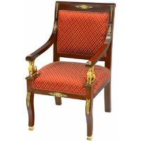 Fauteuil style Empire en acajou et tissu rouge Wagram