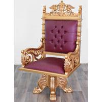 Fauteuil de bureau trône royal en acajou doré bordeaux Windsor