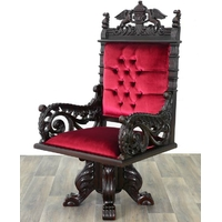 Fauteuil de bureau royal en acajou velours rouge Windsor