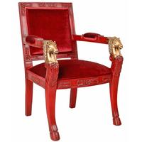 Fauteuil à têtes de cheval en acajou rouge et doré Saumur