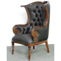 Fauteuil bergère style anglais victorien en acajou chesterfield noir Edimbourg