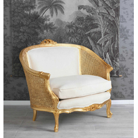 Canapé style Louis XV en bois doré Boussac