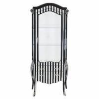 Vitrine style baroque en hêtre rayé noir et blanc Barville