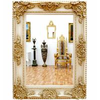 Miroir baroque 126x96 cm cadre en bois blanc antique