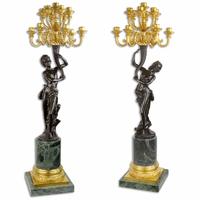 Paire de chandeliers avec cariatides en bronze et marbre Wagram
