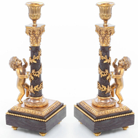 Paire de bougeoirs en marbre vert et bronze doré Saumur