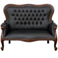Canapé style anglais victorien en acajou Chesterfield noir Preston