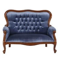 Canapé style anglais victorien en acajou et velours bleu Preston