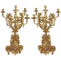 Paire de chandeliers style baroque Louis XV en bronze doré Boussac