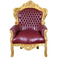 Fauteuil baroque en bois doré et simili-cuir bordeaux Stockholm