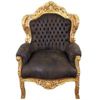 Fauteuil baroque en bois doré et simili-cuir brun Stockholm