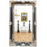 Miroir baroque cadre en bois noir et argent 150x90 cm Ferrières