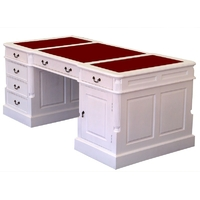 Bureau style anglais en acajou blanc avec sous-main rouge Bristol