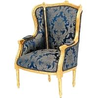 Fauteuil style Louis XVI en hêtre doré et tissu bleu Turgot