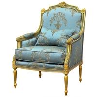 Bergère style Louis XVI en bois doré tissu bleu royal Chambord