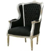 Bergère style Louis XVI en hêtre argenté et velours noir Turgot