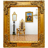 Miroir baroque cadre en bois doré 82x72 cm