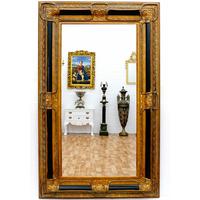 Miroir baroque cadre en bois noir et doré 160x98 cm Posanges