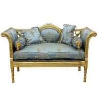 Banquette style Louis XVI en bois doré et tissu bleu Talcy