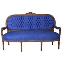 Canapé style Louis XVI en hêtre et tissu bleu Versailles