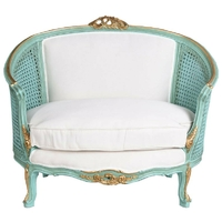 Canapé style Louis XV en bois bleu turquoise Boussac