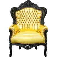 Fauteuil baroque en hêtre noir et simili-cuir doré Stockholm