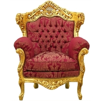 Fauteuil rococo royal en bois doré et tissu rouge Hambourg