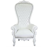 Trône royal en hêtre et simili-cuir blanc Vendôme
